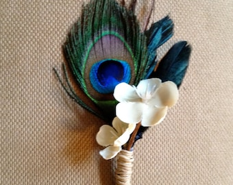 Peacock and Turquoise Feather Boutonniere