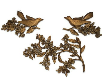 ON SALE - Vintage Mid Century Syroco 3 Piece Wall Hanging Birds Dogwood Blossoms