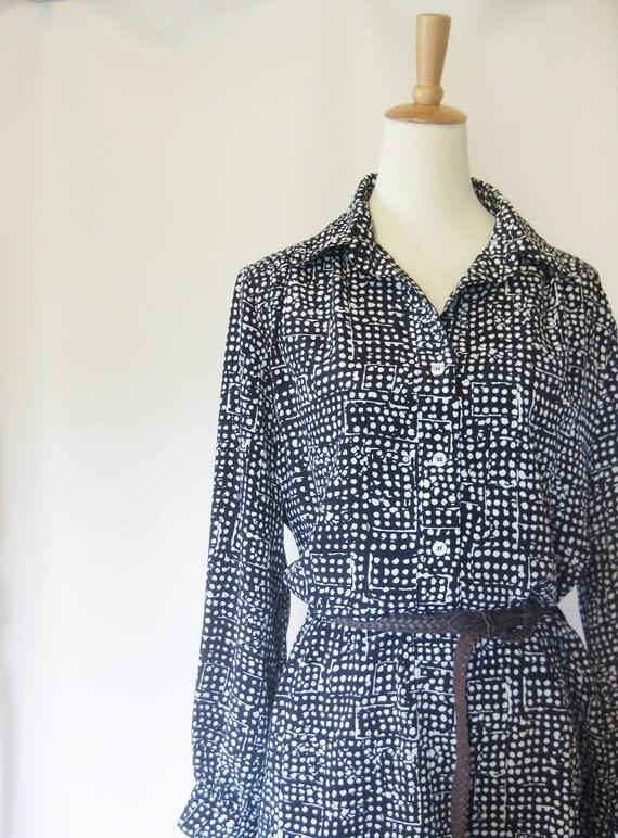 Vintage SHIRTDRESS Black White INDIE Plus Sized 1970s Xxl Xxxl Full Figured HIPSTER 70s Poet Sleeves
