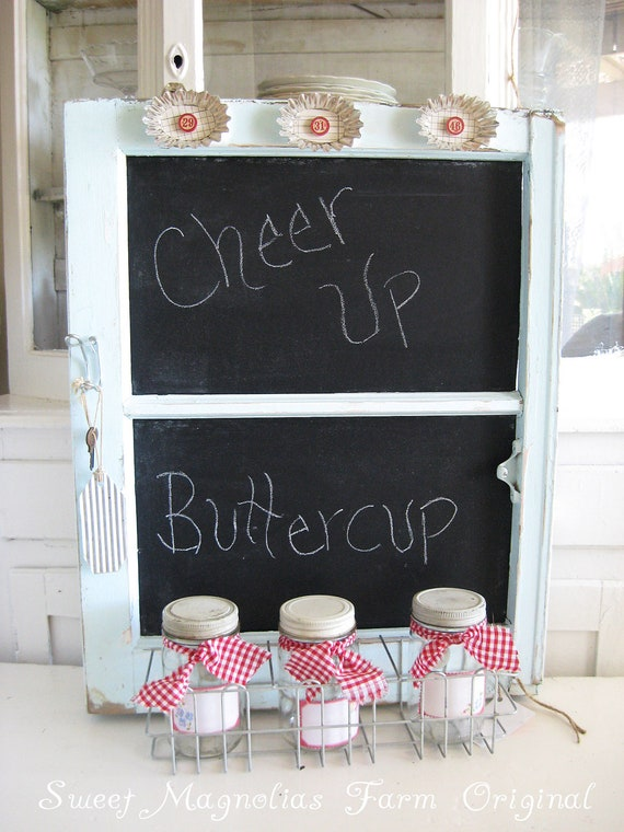 Vintage Window Frame Chalboard - Upcycled - Wire Rack with vintage Jars - So Farmhouse So Cottage So Chic