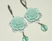 Flower Earrings, Floral Earrings, Cab Earrings, Rose, Antique Bronze, Vintage Style with Aqua Floral Cabochons