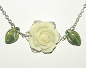 Filigree Necklace, Silver Necklace, Flower Necklace, Vintage Style, Cream Rose Cabochon with Glass Leaves