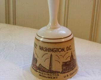 Vintage Souvenir Bell WASHINGTON DC Stoneware White House, Washington Monument, Panda