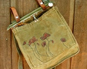 Poppies - Vintage Canvas Swiss Military Bag / Satchel - Hand Painted