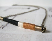 DAVIS necklace - ethnic inspired, textile and leather with antiqued brass chain (amber ecru ebony)
