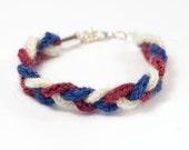 Knitted Bracelet in Red, White & Blue