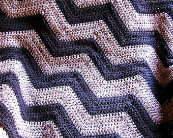 new chevron zig zag baby blanket afghan wrap crochet knit lap robe wheelchair ripple stripes VANNA WHITE yarn charcoal grey handmade in USA