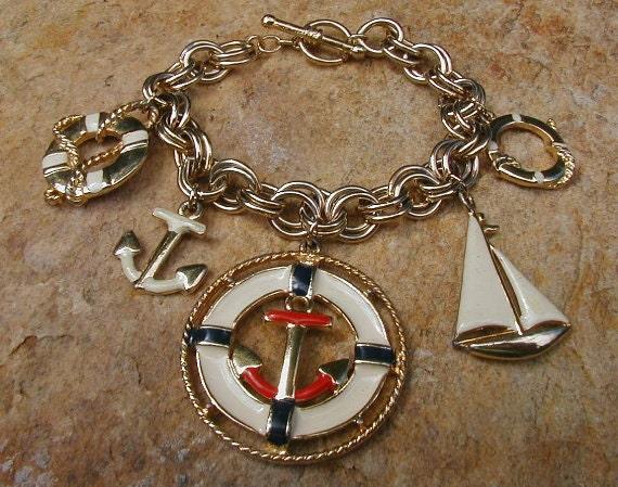 Vintage Nautical Enameled Charm Bracelet M Lent