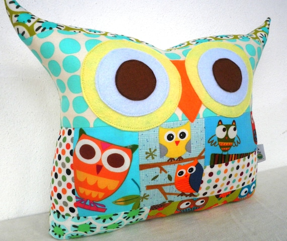 NEW/PATCHWORK /owl family owl pillow/Ready to ship