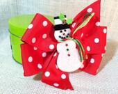 Christmas Hair Bow Holiday Snowman Pin Wheel Hair Bow Red Green White Polka Dot  Merry Christmas Happy Holidays