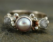 10k White Gold Ring with Rough Diamonds and Pearl- Custom Made Two Ring His and Hers Set
