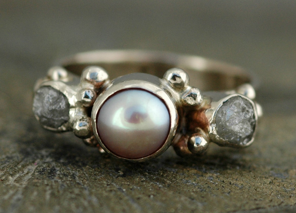 3 Ring Bridal Set 14k White Gold Engagement Ring with Rough