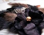 Black Hydrangea - Skull - Bone - Feather Fascinator Hair or Hat Clip -  Halloween Samhain