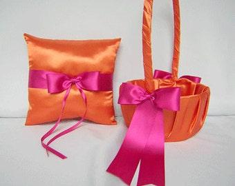 Wedding Accessories Bridal Package Orange Fuchsia hot Pink Flower Girl Basket Ring Bearer Pillow