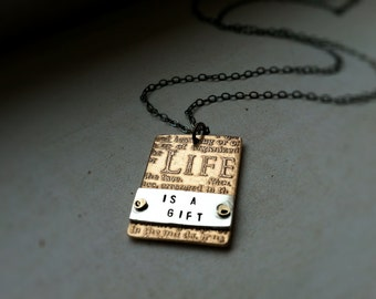 Etched Life is a Gift Necklace