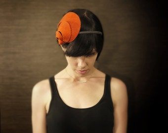 Orange Felt Headband with Geometric Accents- Helix Series - Fall Fashion - Made to Order