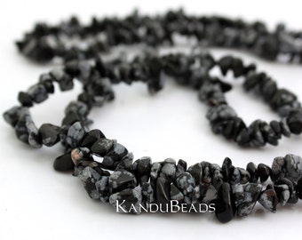 "Snowflake Obsidian, Black Onyx, Agate, Small Chip Beads  5-10mm  LONG 34"" strand"