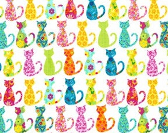 Michael Miller Fabric Calico Cats White