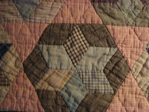 Antique 1930s PA Six Point Star Quilt Piece