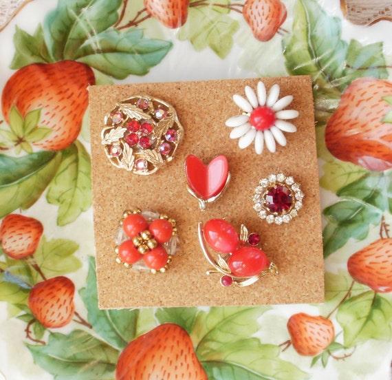 Ruby Red Vintage Jewelry Thumbtacks / Push Pins