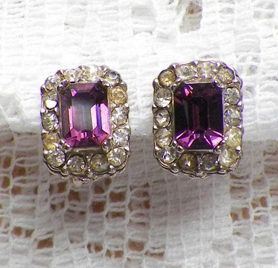 Delicate Amethyst Purple and Clear Rhinestone Screw Back Earrings