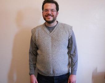 Knitting Pattern PDF - Double Moss Stitch Vest for Men