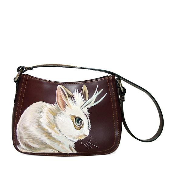 Black Friday Sale - Jackalope mini hobo purse handpainted by NYhop  - OOAK  - upcycled shoulder bag synthetic brown leather, vegan