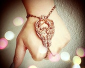 NEW -  Double Peacocks Slave Bracelet - Art Nouveau Made in USA stamping - Rose Copper Ox