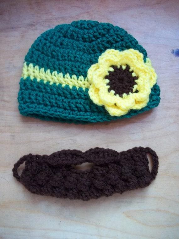 John Deere Baby Girl Beard Beanie, Farm Girl Beard Beanie, Farm Girl Baby Hat, Baby Girl Farmer Shower Gift, Baby Girl Tractor Gift