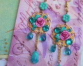 Sparkling Cadence of Jeweled Blossoms - Hand-Sculpted - Swarovski Crystal Earrings