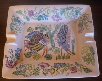 SALE Mid Century Hand Painted Tropical Fish Ashtray