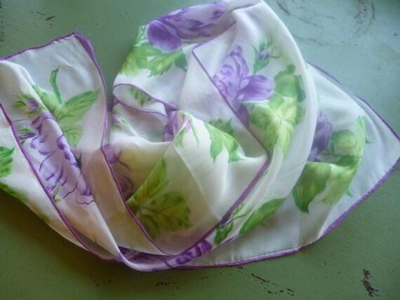 Vintage Purple Floral Silk Scarf