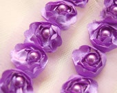 Satin Rosette Trim in Deep Lilac with Hand Sewn Matching Pearl Beads- 1 yard