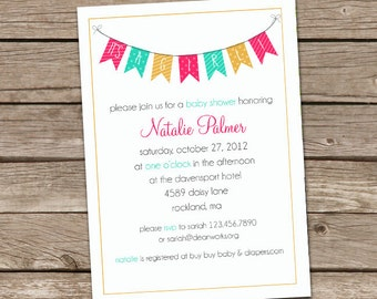 Pendant Flags Baby Shower Invite - It's A Girl