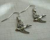 Antique Silver Sparrow Bird Earrings