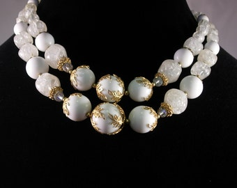 Deauville Mid Century White Two Strand Necklace SALE
