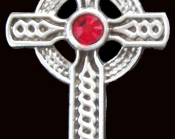 CR-13R Celtic Cross Necklace with Red Crystal