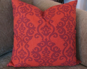"Decorative Pillow Cover, ONE  18"" x 18"", Cinnamon Ikat Print"
