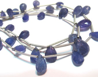 Tanzanite faceted pear briolettes full strand periwinkle