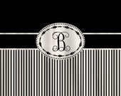 Personalized Shower Curtain - with your initials and or name -Shown Black with Tan Stripes  and Navy with Tan- ANY COLOR