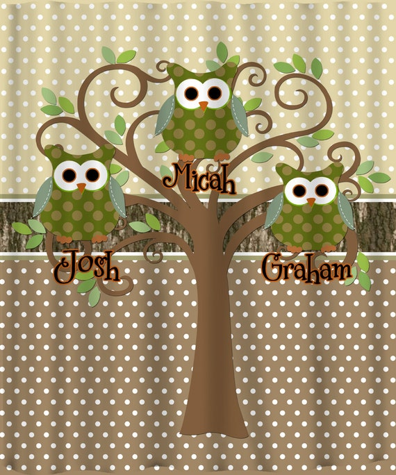 Mod Tree Owl Shower Curtain - Inspired Pink Ribbon and Hunting Theme Colors Available