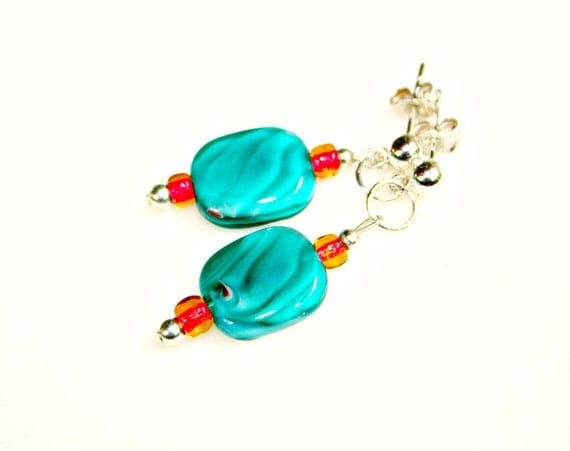 Sunset Turquoise Earrings - Blue Fire Red and Sweet Orange Hand Crafted Glass Beads with Sterling Silver by Mei Faith