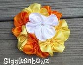 Satin Ribbon Flowers- Single AMAZiNG Satin CLuSTeR Flower- Candy Corn- 4 inch