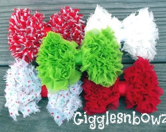 CHRiSTMaS CoLLeCTiON- Set of FiVE Shabby Frayed Chiffon GRASS TRiM BoWS- 4 inch