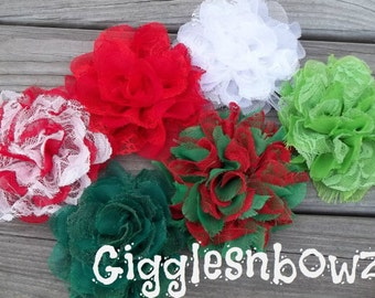SALE!! CHRiSTMaS CoLLECTiON- Set of 6 Gorgeous Shabby Chic Frayed Chiffon and Lace Rose Flowers- 3.5 inch