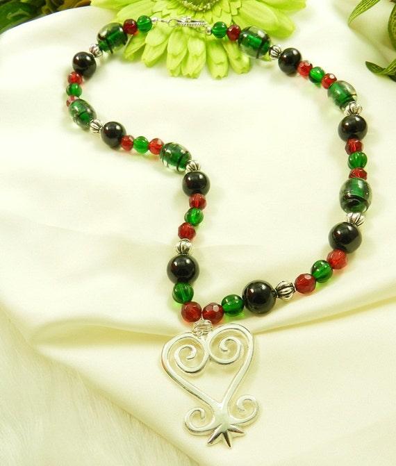18 inch Adinkra Sankofa Beaded Necklace, African, Ethnic, Black, Green, Red, Kwanzaa Gift