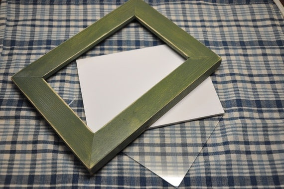 5x7 Picture Frame with Glass Backing and Mounting Hardware in Distressed Green