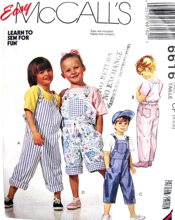 Childs Overalls Pants & Shorts Pattern McCalls 6616 UNCUT Girls Boys Size 4 5 6