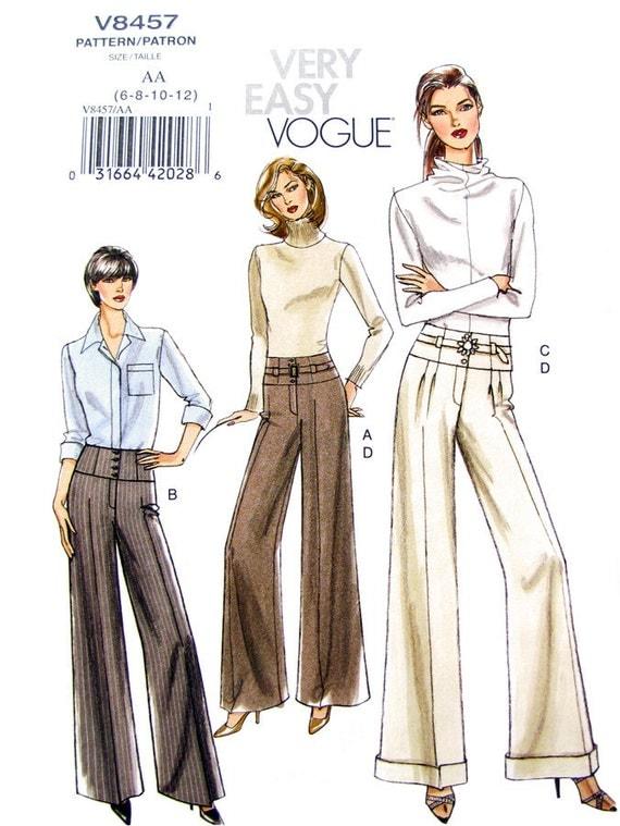 Wide Pants & Belt Sewing Pattern Vogue 8457 UNCUT OOP Size 6 8 10 12