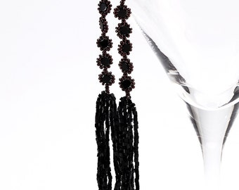 Long Dangling Beaded Black and Brass Finge Sead Bead Earrings